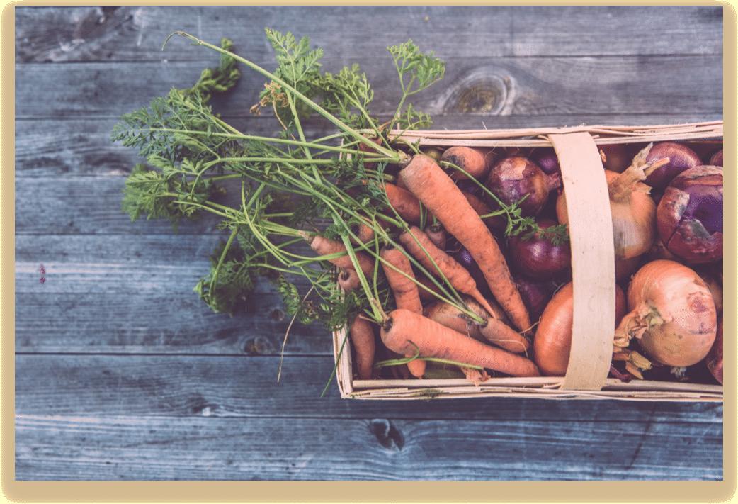 Panier de carottes et d'oignons rouge le kiosque paysan